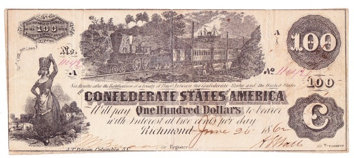 T-39 1862 Confederate States $100, PF-5, issued by civil agent John Boston at Savannah, GA