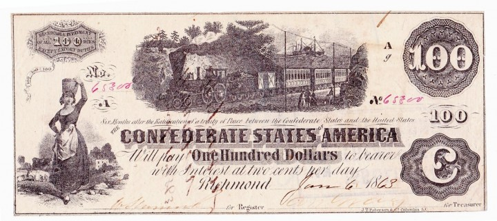 T-40 1863-dated Confederate States $100, PF-1, military issuer Major R. M. Mason