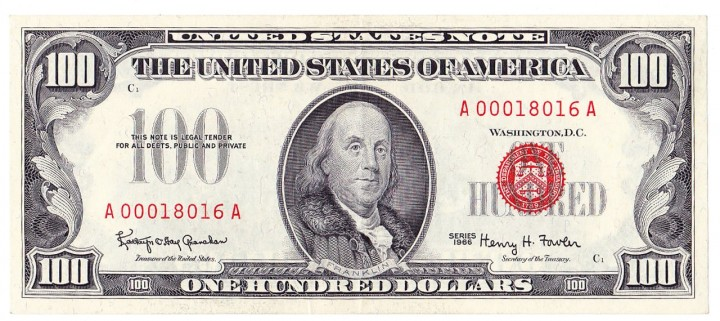 Fr. 1550, One Hundred Dollars, Series of 1966, W-3800, XF-AU