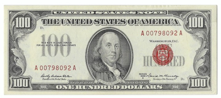 Fr. 1551, One Hundred Dollars, Series of 1966-A, W-3801, PMG About Uncirculated 53 EPQ