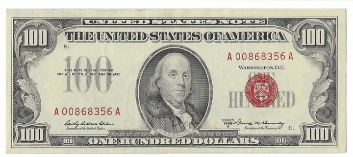 Fr. 1551, One Hundred Dollars, Series of 1966-A, W-3801, PCGS About New 53