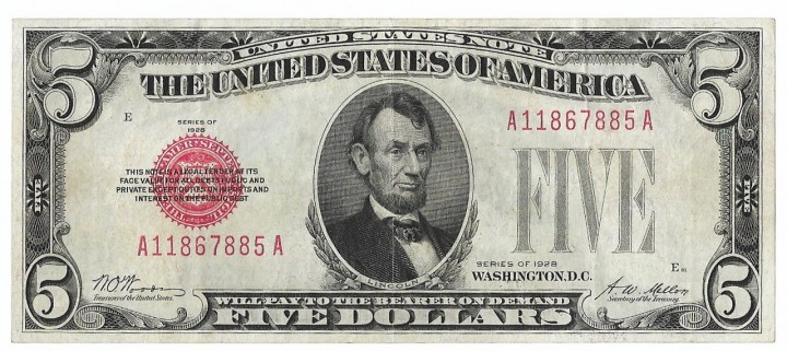 Fr. 1525, Five Dollars, Series of 1928, W-1000, Choice VF
