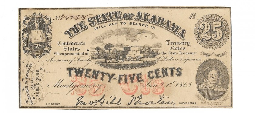 Alabama, January 1, 1863 25 Cents, Cr. 6