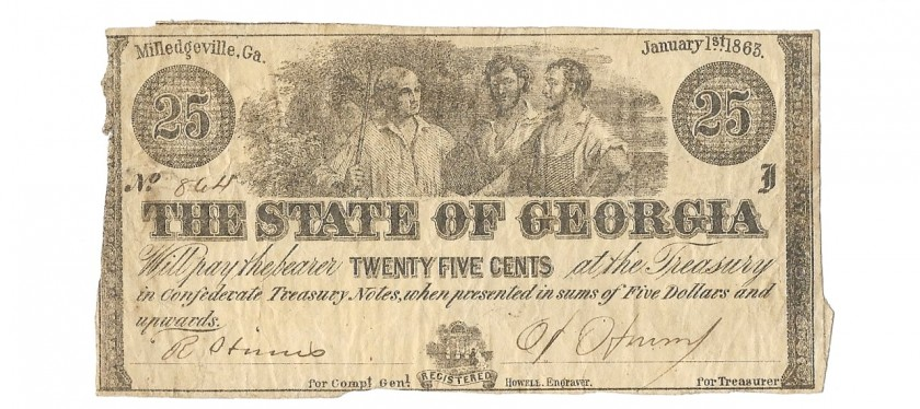 Georgia, January 1, 1863, 25 Cents, Cr. 15D