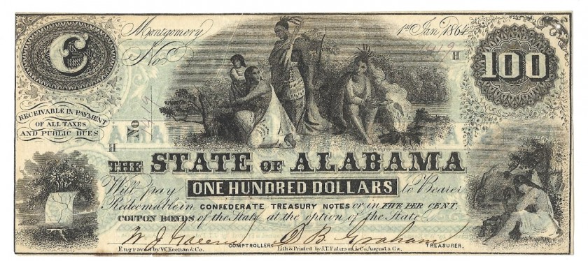 Alabama, January 1, 1864, $100, Cr. 12