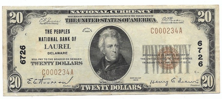 Delaware, Laurel, Ch. 6726, The Peoples National Bank, Type 1 $20
