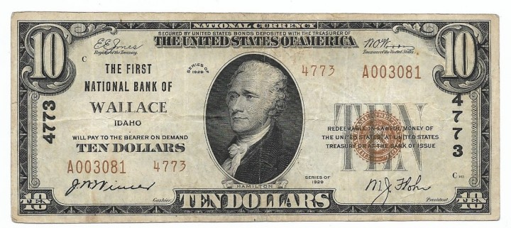 Idaho, Wallace, Ch. 4773, The First National Bank, Type 2 $10