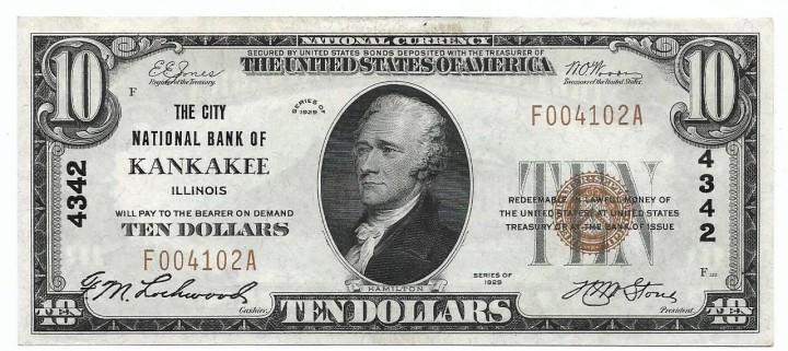 Illinois, Kankakee, Ch. 4342, The City National Bank, Type 1 $10