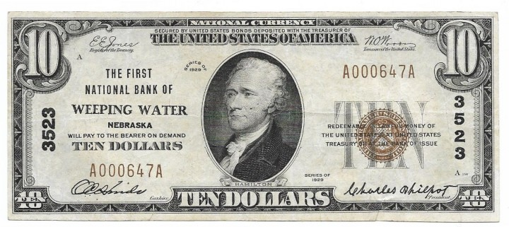 Nebraska, Weeping Water, Ch. 3523, The First National Bank, Type 1 $10