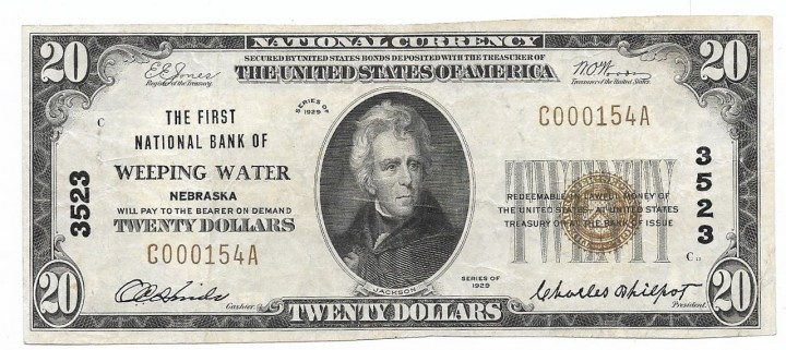 Nebraska, Weeping Water, Ch. 3523, The First National Bank, Type 1 $20