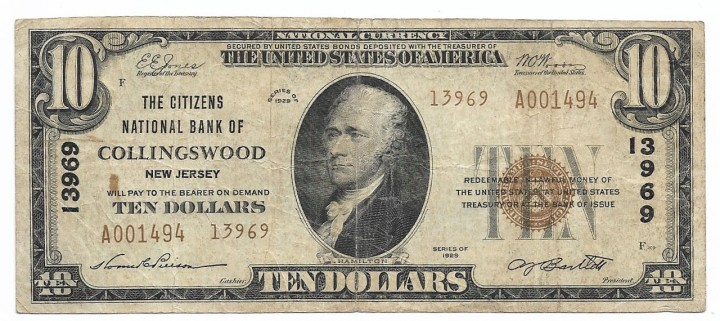 New Jersey, Collingswood, Ch. 13969, The Citizens National Bank, Type 2 $10