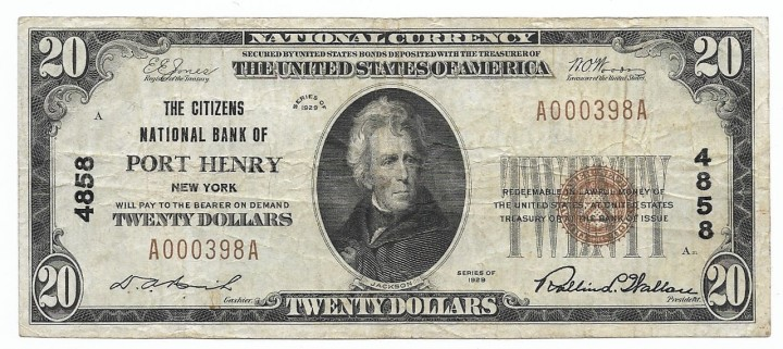 New York, Port Henry, Ch. 4858, The Citizens National Bank, Type 1 $20