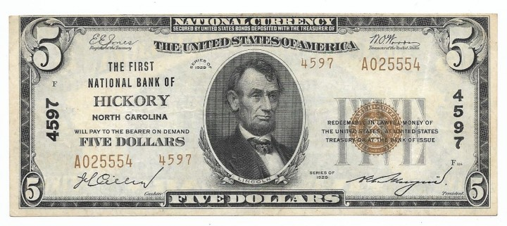 North Carolina, Hickory, Ch. 4597, The First National Bank, Type 2 $5