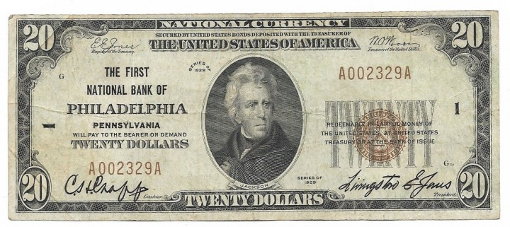 Pennsylvania, Philadelphia, Ch. 1, The First National Bank, Type 1 $20