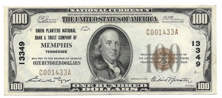 Tennessee, Memphis, Ch. 13349, Union Planters National Bank & Trust Company, Type 1 $100